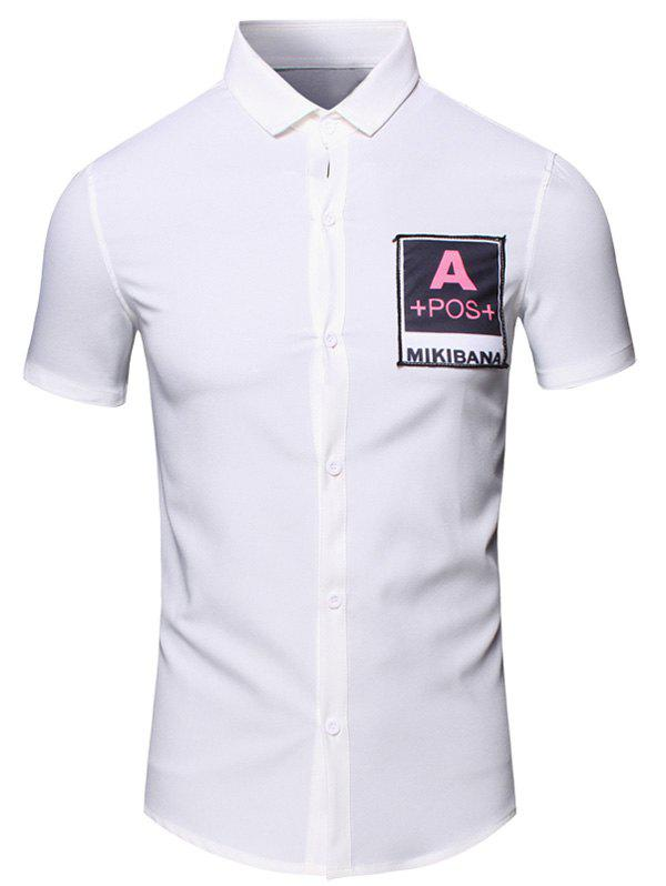 Letters Printed Turn-Down Collar Short Sleeve Cotton+Linen Men's Shirt - WHITE L