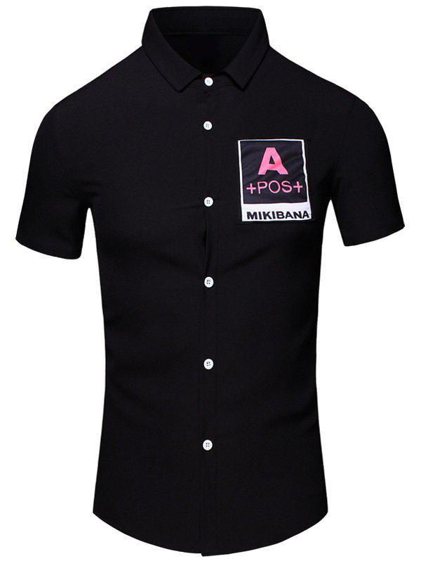 Letters Printed Turn-Down Collar Short Sleeve Cotton+Linen Men's Shirt - BLACK M