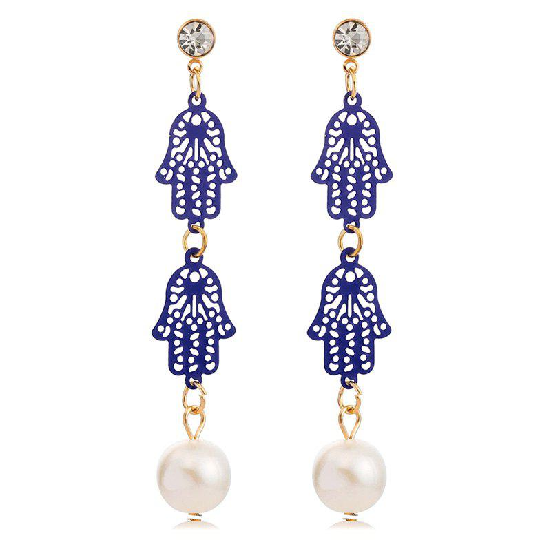 Pair of Faux Pearl Rhinestone Palm Drop Earrings - GOLDEN