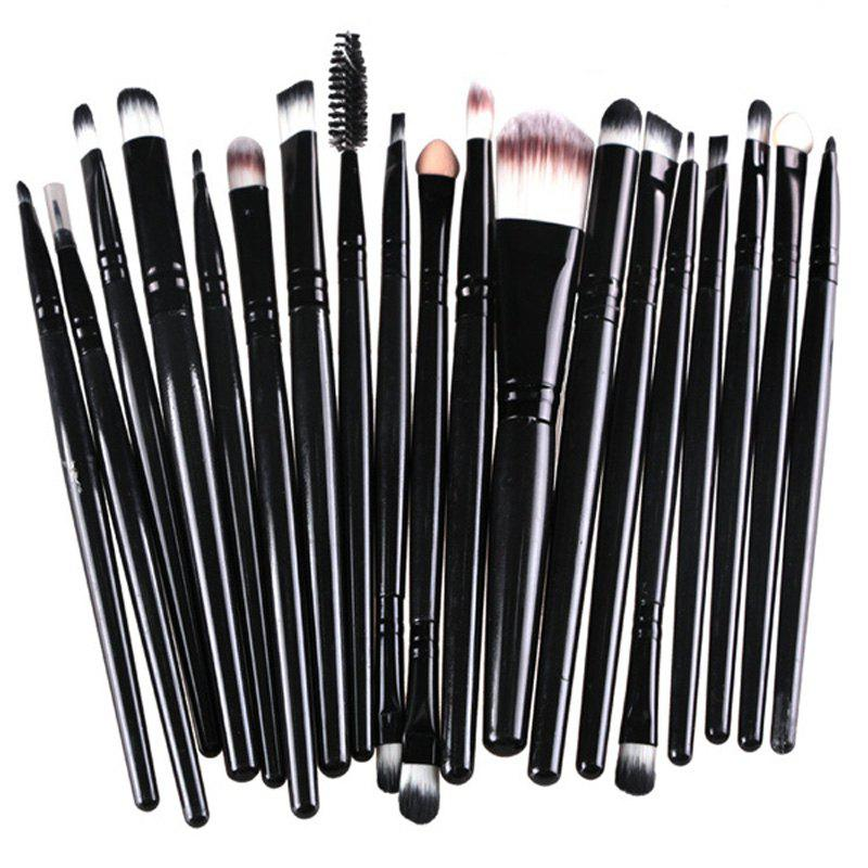 Practical 20 Pcs Multifunction Plastic Handle Nylon Makeup Brushes Set - BLACK