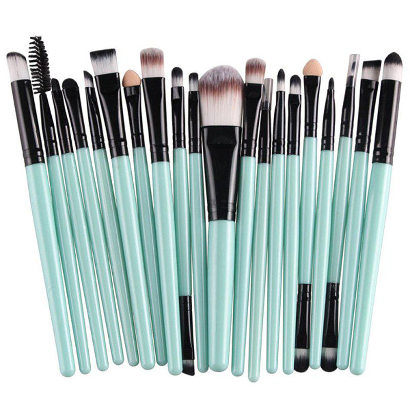Practical 20 Pcs Multifunction Plastic Handle Nylon Makeup Brushes Set - GREEN