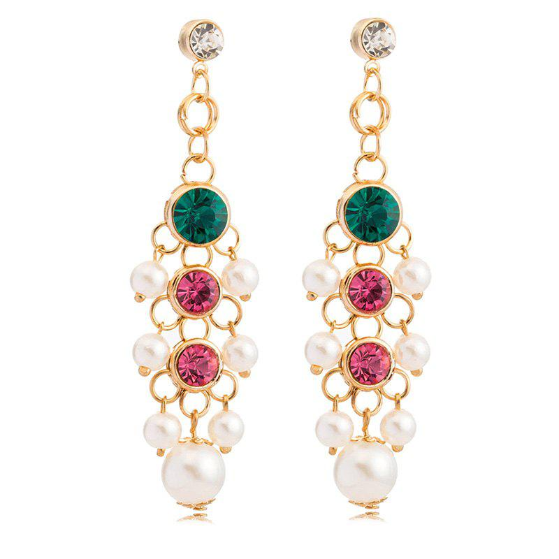 Pair of Chic Rhinestone Faux Pearl Embellished Earrings For Women