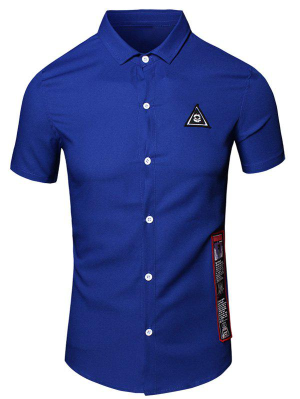 Geometric Eye Printed Turn-Down Collar Short Sleeve Cotton+Linen Men's Shirt - BLUE XL