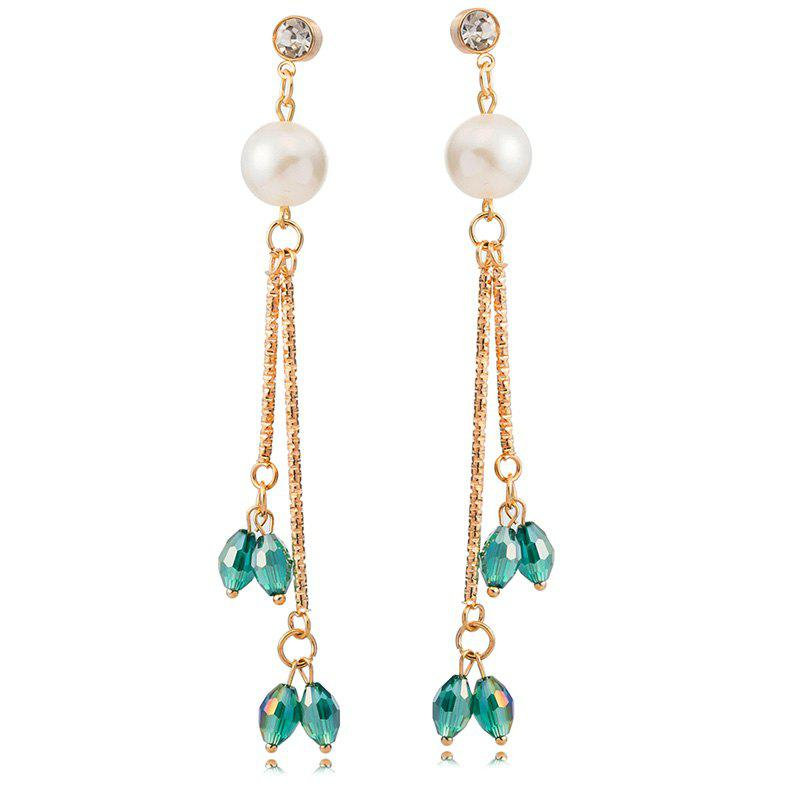Pair of Chic Style Rhinestone Faux Pearl Embellished Drop Earrings For Women