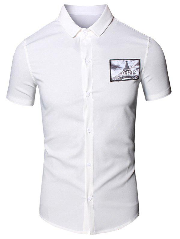 3D Iron Tower Printed Turn-Down Collar Short Sleeve Cotton+Linen Men's Shirt - WHITE M