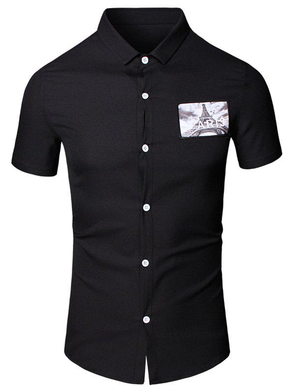 3D Iron Tower Printed Turn-Down Collar Short Sleeve Cotton+Linen Men's Shirt - BLACK 3XL
