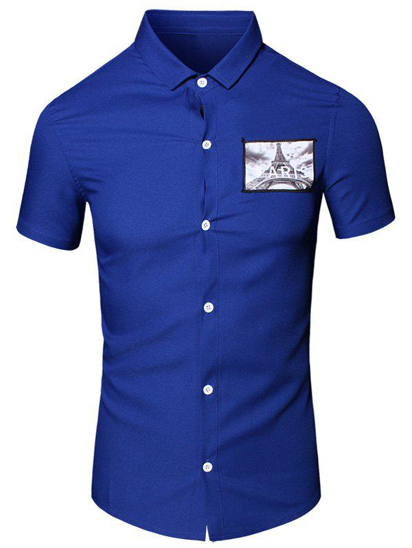 3D Iron Tower Printed Turn-Down Collar Short Sleeve Cotton+Linen Men's Shirt - BLUE M