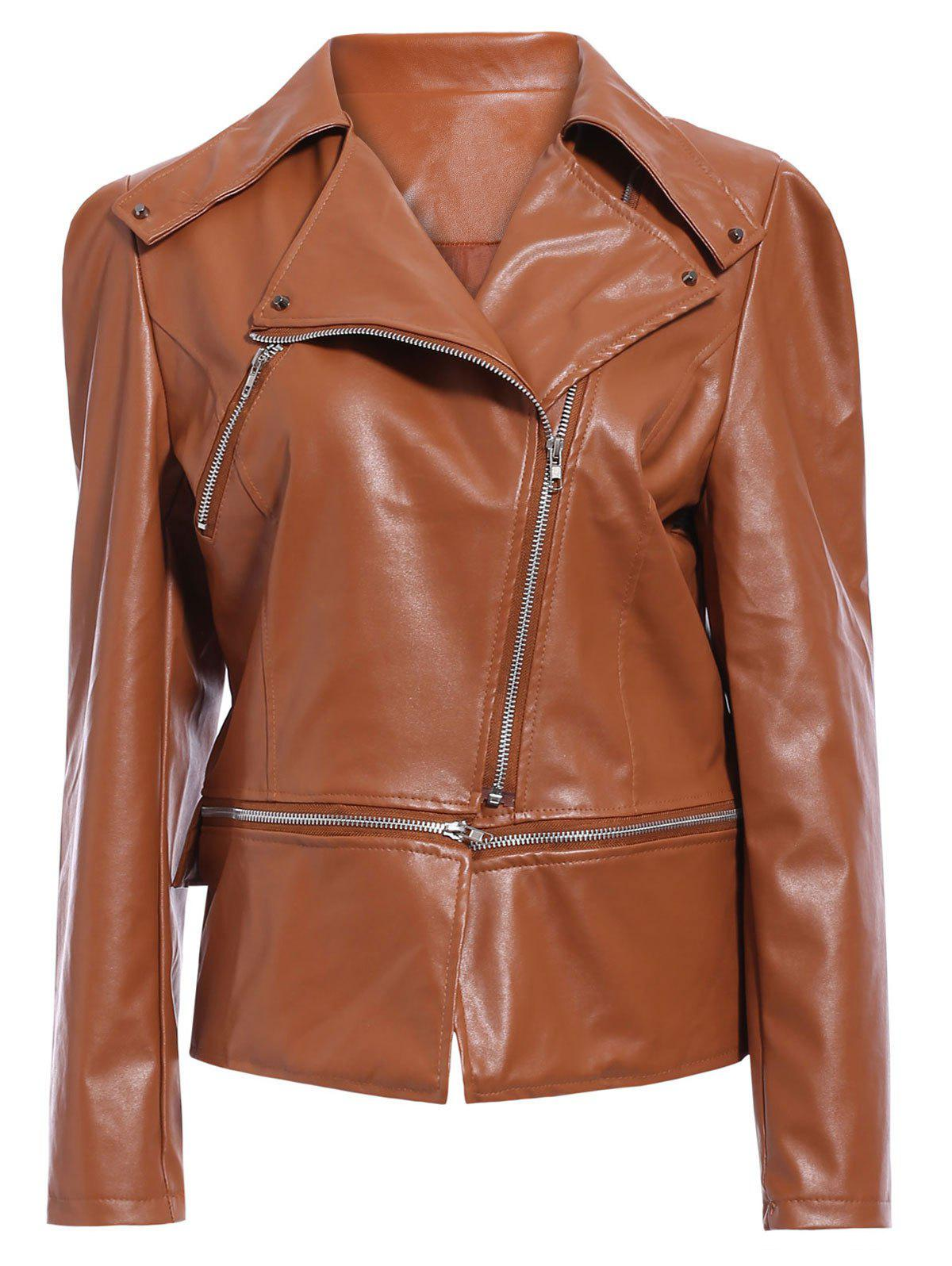 Faux Leather Zip Up Biker Jacket - BROWN M