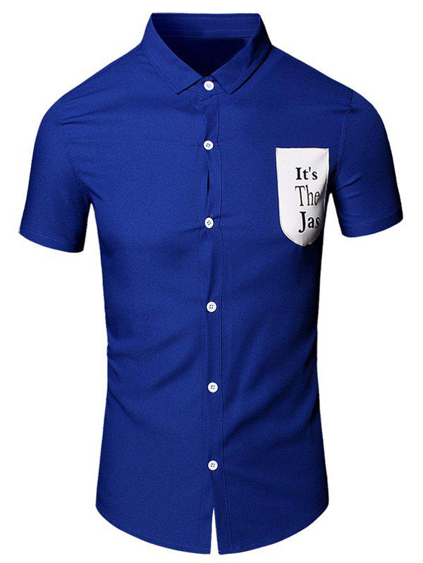 Letter Printed Pocket Turn-Down Collar Short Sleeve Cotton+Linen Men's Shirt - BLUE XL