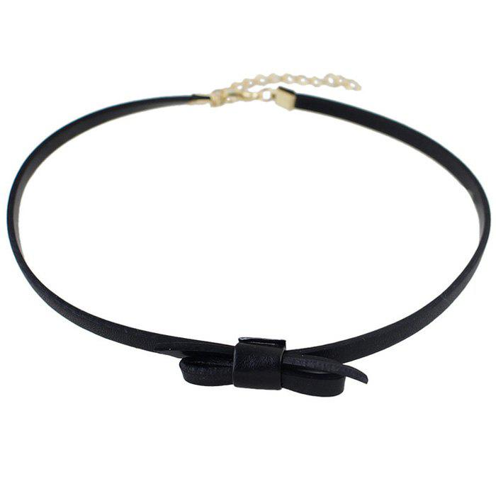 Bowknot Faux Leather Necklace - BLACK