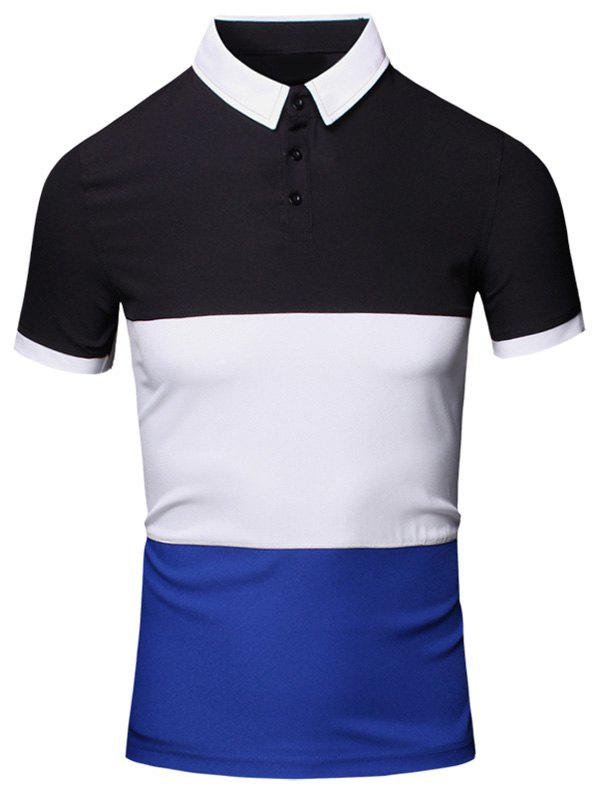 Color Block Splicing Design Turn-Down Collar Short Sleeve Cotton+Linen Men's Polo T-Shirt - CADETBLUE 2XL