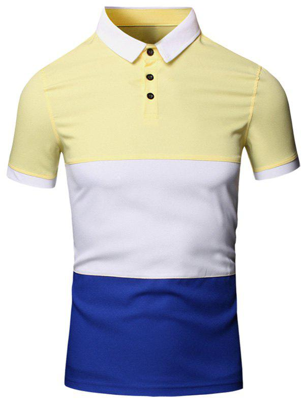 Color Block Splicing design col rabattu manches courtes en coton + Lin Men  's Polo T-Shirt - Jaune 2XL