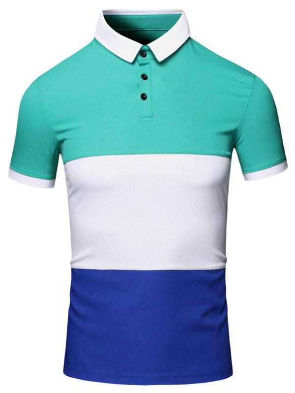Color Block Splicing design col rabattu manches courtes en coton + Lin Men  's Polo T-Shirt - Vert M