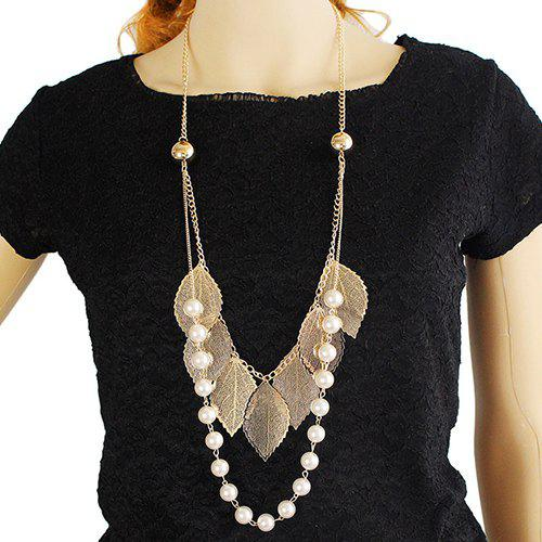 Faux Pearl Leaf Sweater Chain - GOLDEN