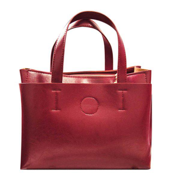 Concise PU Leather and Solid Colour Design Women's Tote Bag - RED