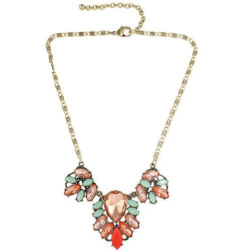 Charming Embellished Faux Crystal Oval Necklace For Women