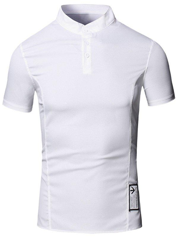 Solid Color Applique Design Stand Collar Short Sleeve Cotton+Linen Men's Polo T-Shirt - WHITE XL