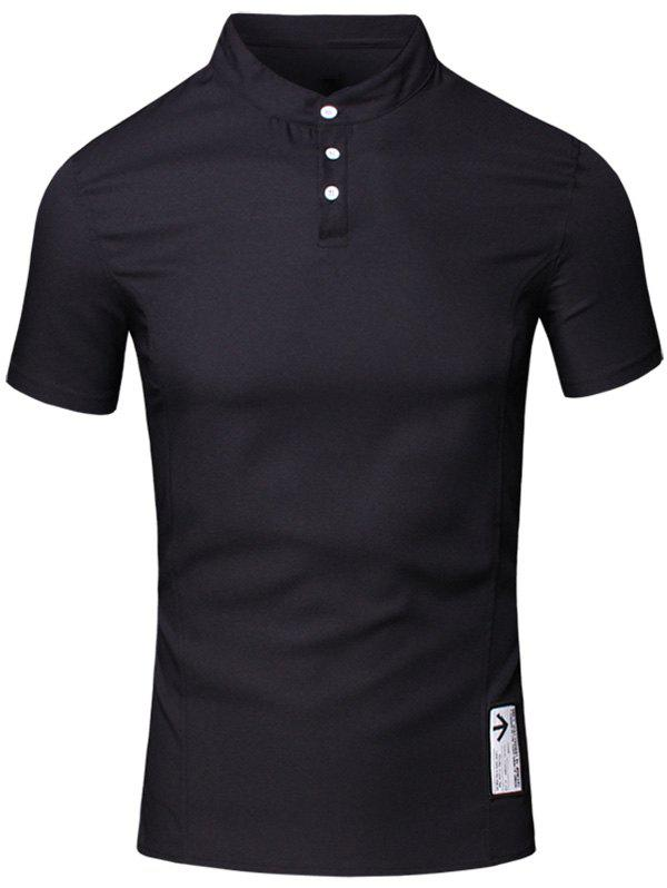 Solid Color Applique Design Stand Collar Short Sleeve Cotton+Linen Men's Polo T-Shirt - BLACK M