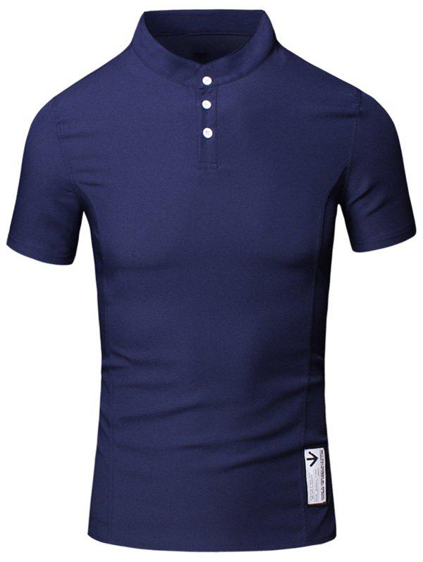 Solid Color Applique Design Stand Collar Short Sleeve Cotton+Linen Men's Polo T-Shirt - CADETBLUE 3XL
