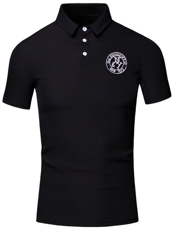 Embroidered Design Turn-Down Collar Short Sleeve Cotton+Linen Men's Polo T-Shirt - BLACK L