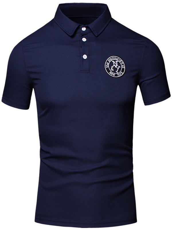 Conception brodée col rabattu manches courtes en coton + Lin Men  's Polo T-Shirt - Cadetblue XL