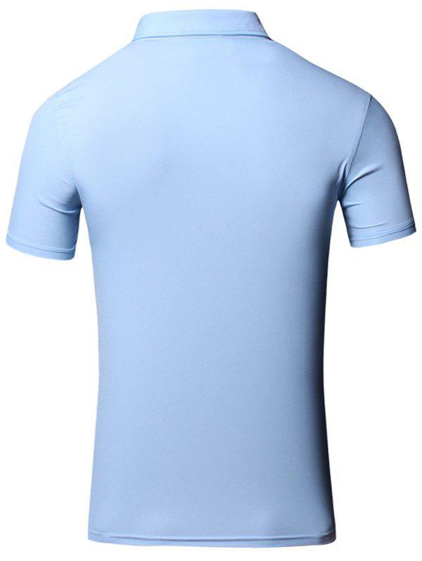 Conception brodée col rabattu manches courtes en coton + Lin Men  's Polo T-Shirt - Pers 2XL