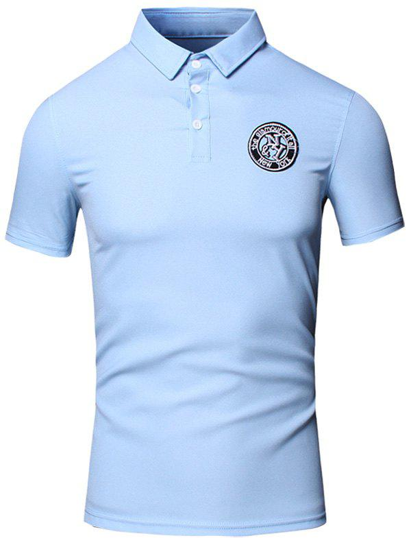 Conception brodée col rabattu manches courtes en coton + Lin Men  's Polo T-Shirt - Pers 3XL