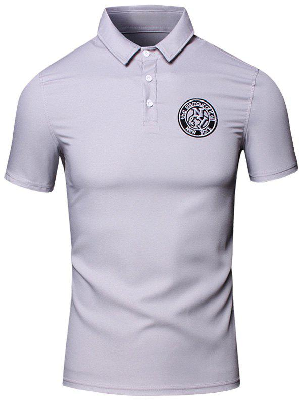 Embroidered Design Turn-Down Collar Short Sleeve Cotton+Linen Men's Polo T-Shirt - M GRAY