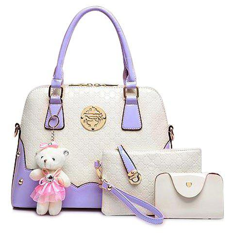 Fashion Bear Pendant and Color Block Design Tote Bag For Women - VIOLET