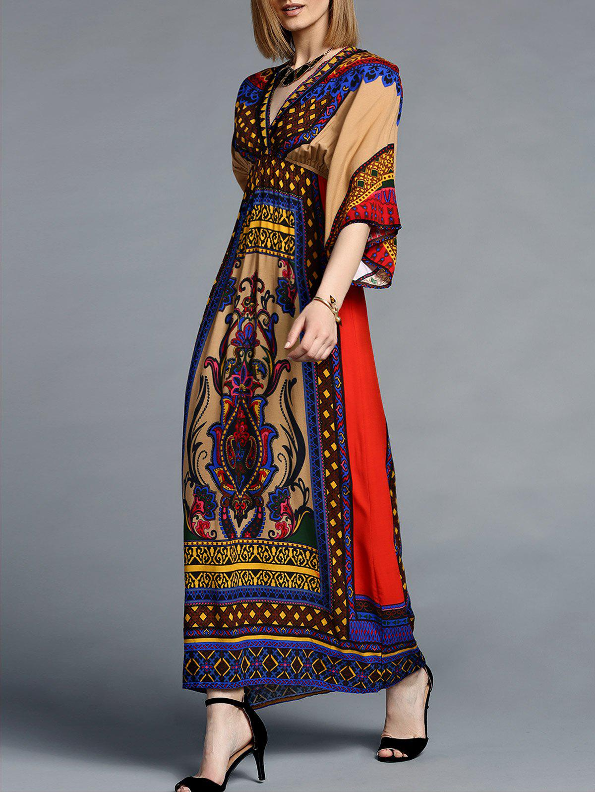 Ethnic Style Women's V-Neck 3/4 Sleeves Tribal Print Dress - COLORMIX S