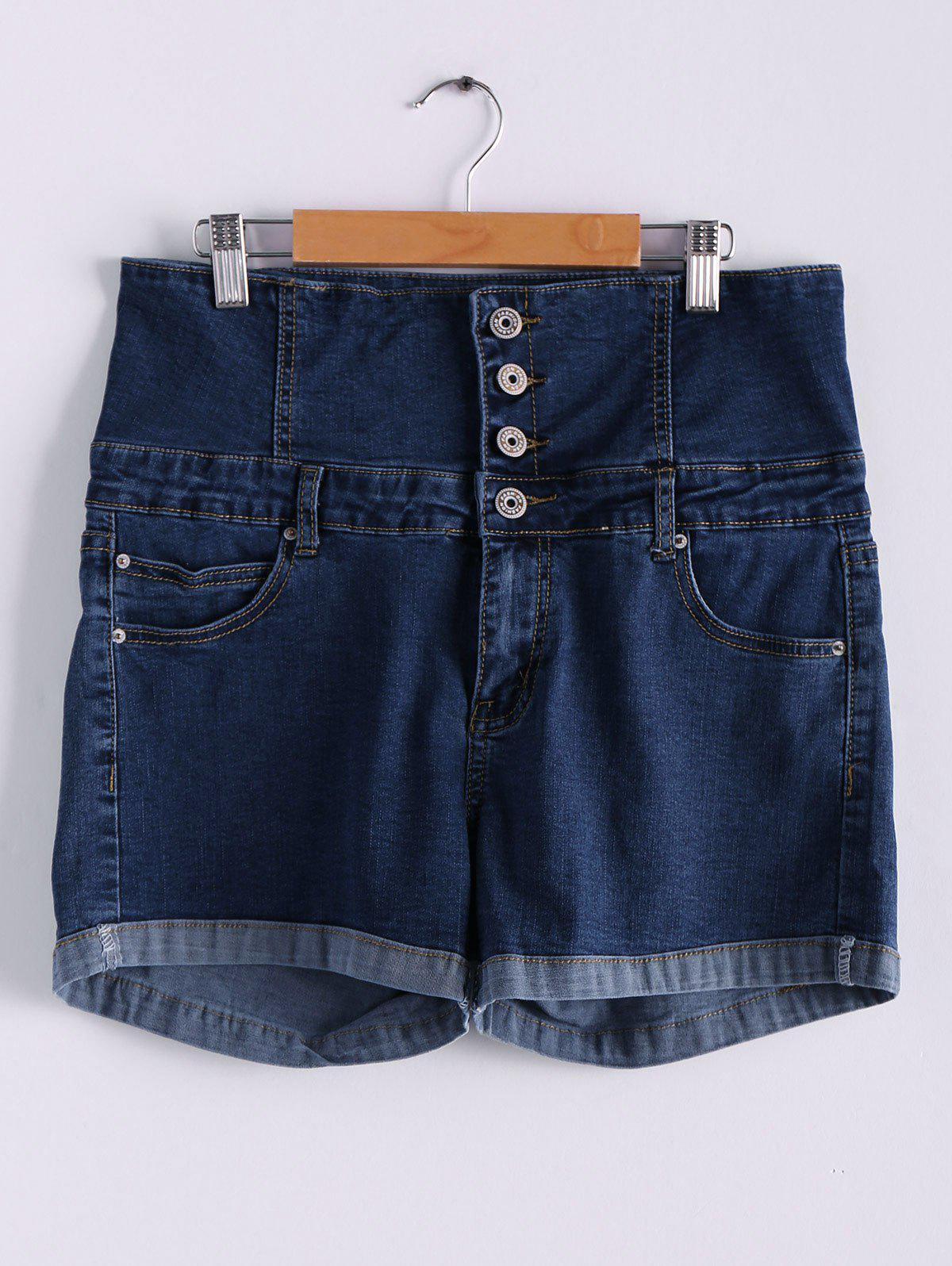 Stylish High Waist Buttoned Women's Denim Shorts - DEEP BLUE S