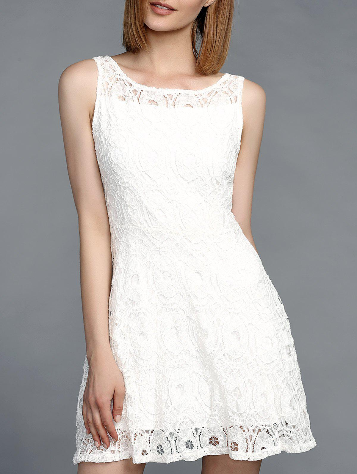 Stunning Women's Jewel Neck Sleeveless Lace Dress - WHITE S