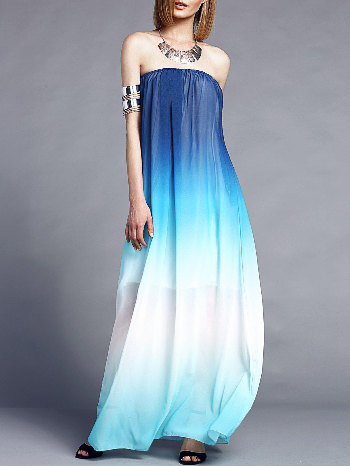 Stylish Sleeveless Strapless Gradient Color Women's Maxi Dress - BLUE S