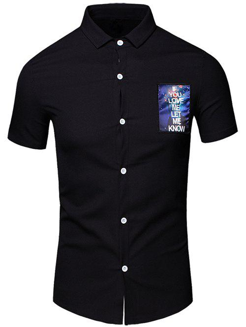 Men 's  Turn-Down Collar Lettre Imprimé conception de poche manches courtes T-shirt - Noir 3XL