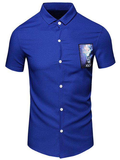 Men's Turn-Down Collar Letter Printed Pocket Design Short Sleeves Shirt - BLUE M
