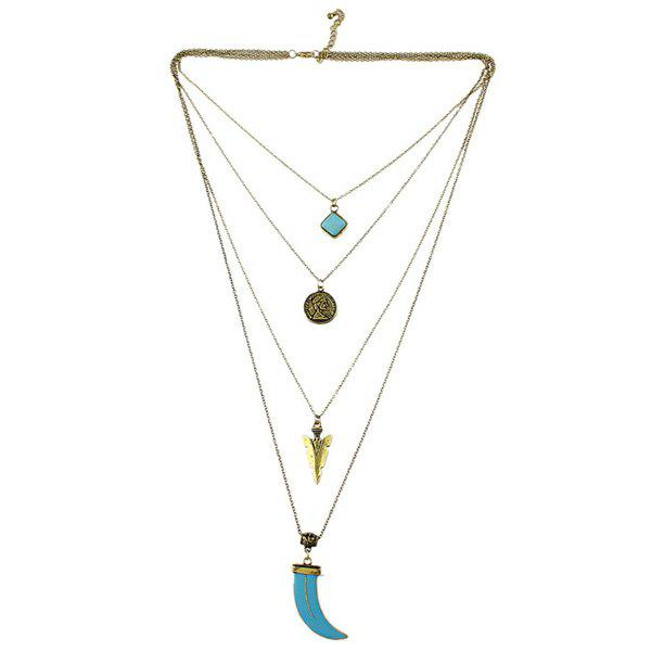 Coin Geometric Multilayered Necklace - GOLDEN