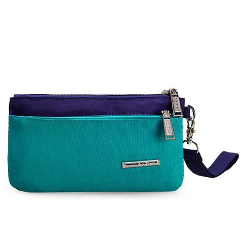 Leisure Color Block and Nylon Design Women's Clutch Bag - LAKE BLUE