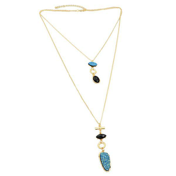 Chic Layered Rhinestone Geometric Sweater Chain For Women - BLUE/GOLDEN