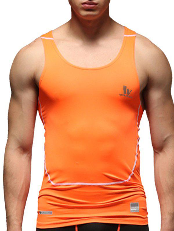 Solid Color Round Neck Quick-Dry Fitted Men's Training Tank Top - ORANGE M