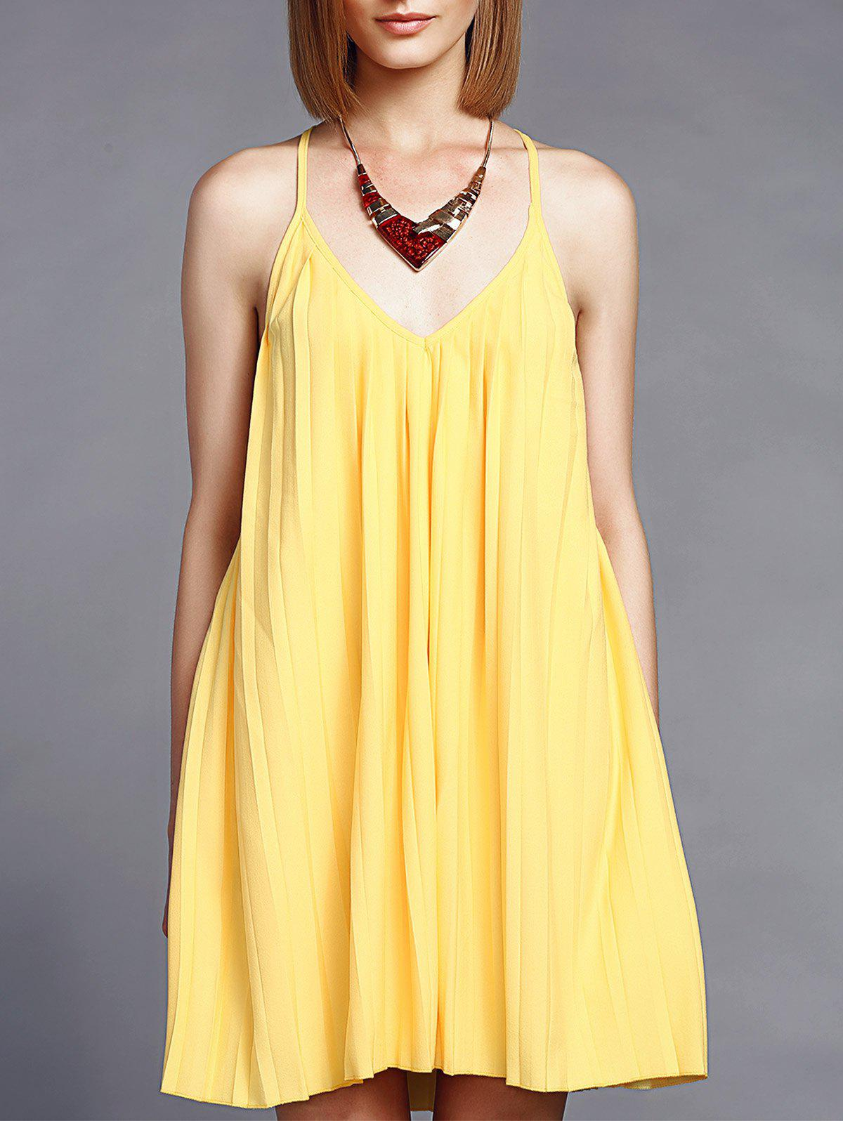 Charming Women's V-Neck Pleated Yellow Cami Mini Dress