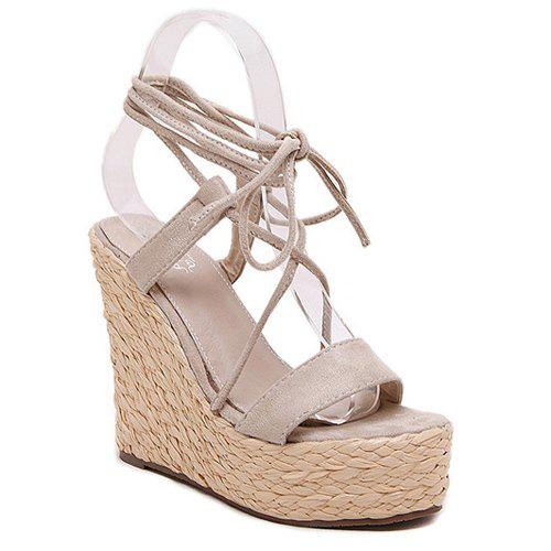 Graceful Wedge Heel and Lace-Up Design Women's Sandals - 36 APRICOT