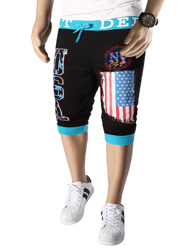 Letters  American Flag Print Color Block Beam Feet Lace-Up Men's Capri Pants - BLUE/BLACK 2XL