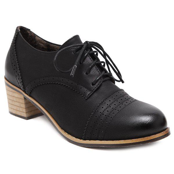Casual Engraving and Black Color Design Women's Pumps - BLACK 39