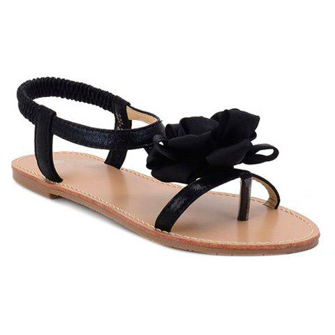 Leisure Flower and Elastic Band Design Women's Sandals - BLACK 40