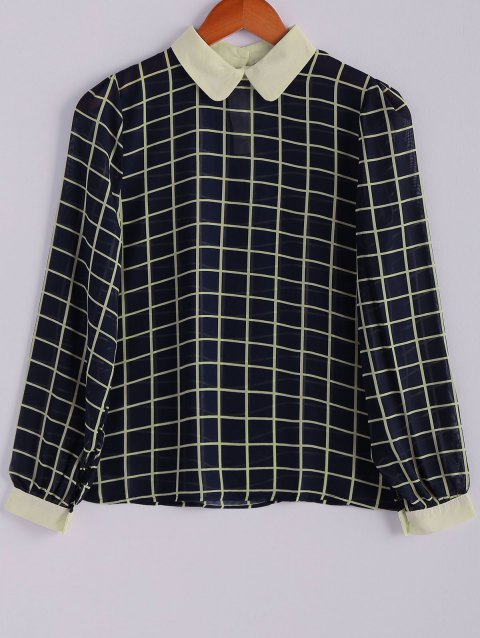 Checked Peter Pan Collar Long Sleeve Chiffon Trendy Style Women's Blouse - BLUE/WHITE S