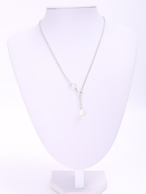 Trendy Solid Color Faux Pearl Embellished 8 Shape Women's Necklace - LAKE BLUE