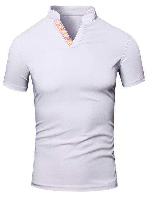 Fashion Turn-Down Collar Letter Print Short Sleeve Men's Polo T-Shirt - WHITE M