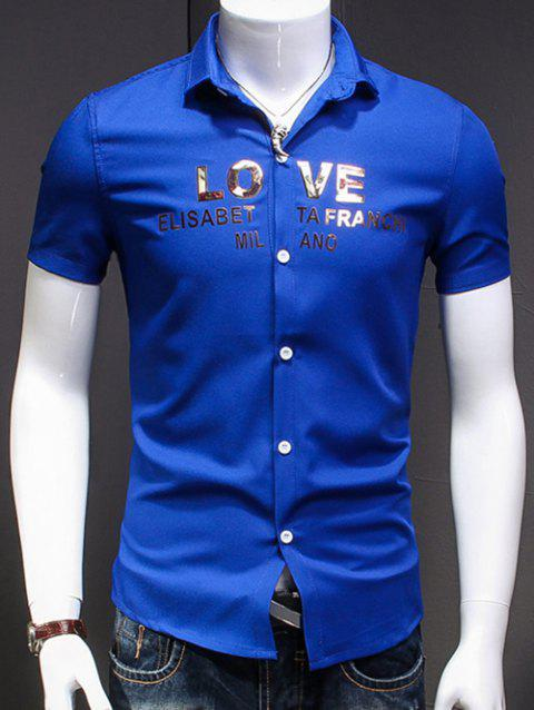 Men's Simple Turn-Down Collar Letter Printed Short Sleeves Shirt - BLUE XL