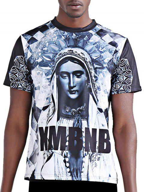 Men's 3D Character and Letter Printing Round Neck Short Sleeves Fitting T-Shirt - COLORMIX S