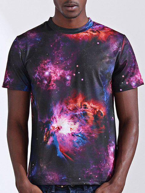 Stylish 3D Starry Sky Print Round Neck Short Sleeve Men's T-Shirt - COLORMIX M